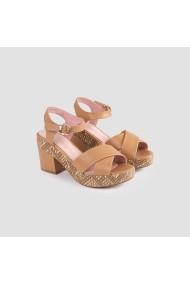 Sandale cu toc Carolina Boix Bej 51321 Bej