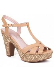 Sandale cu toc Carolina Boix Bej 51411 Bej