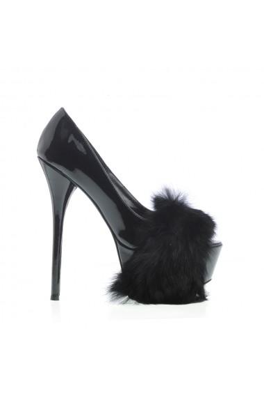 Pantofi cu toc Veronesse 336/3874 cu blana de iepure Negru