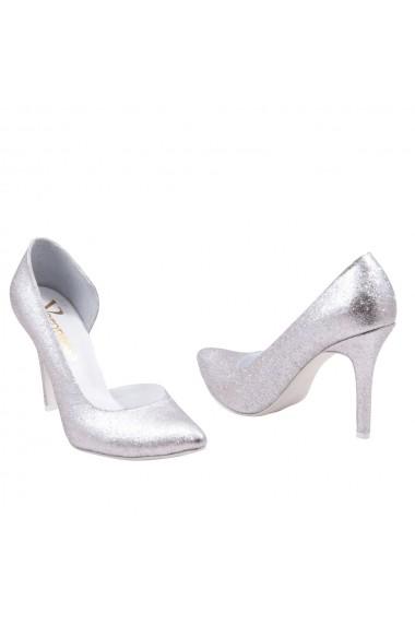 Pantofi cu toc Veronesse 406 decupat lateral Argintiu