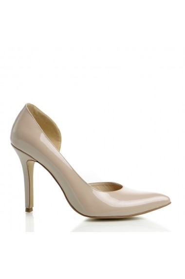 Pantofi cu toc Veronesse 406 decupat lateral Nude
