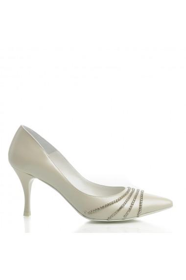 Pantofi cu toc Veronesse 344/843 cu cristale Ivory