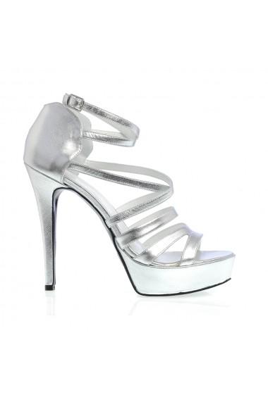 Sandale cu toc Veronesse 521/642 Argintiu