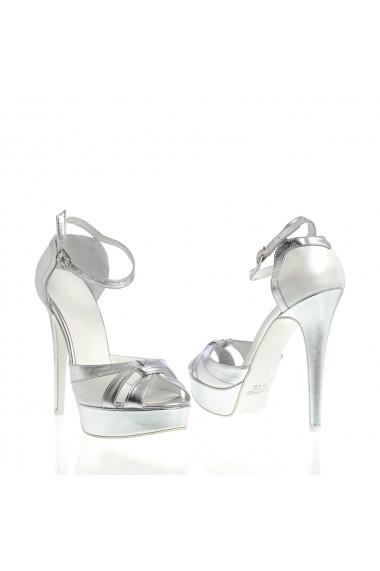 Sandale cu toc Veronesse 519/641 Alb