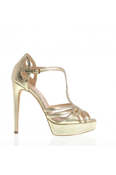 Sandale cu toc VERONESSE din piele naturala, Aurii