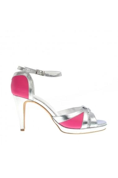 Sandale cu toc VERONESSE din piele naturala, roz