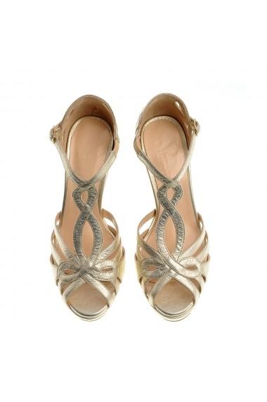 Sandale cu toc Veronesse 520/011 Auriu