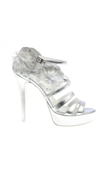 Sandale cu toc Veronesse Floral Dream Argintiu
