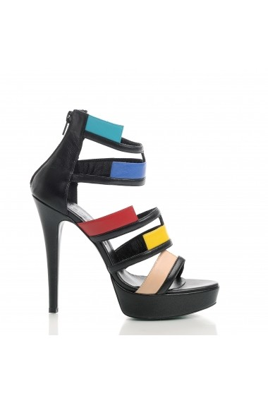 Sandale cu toc VERONESSE din piele naturala, Negru