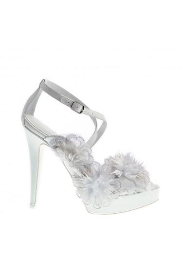Sandale cu toc Veronesse Floral Delight Alb
