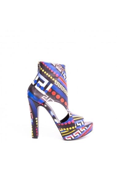Sandale cu toc VERONESSE din piele naturala, Multicolor