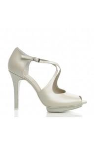 Sandale cu toc VERONESSE din piele naturala, Ivory