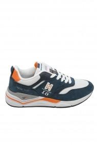 Pantofi sport barbati Zip alb cu bleumarin oceanic