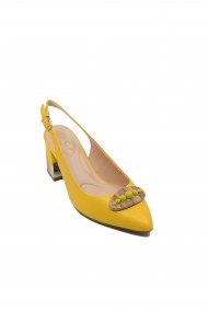 Pantofi dama Epica decupati galbeni din piele naturala