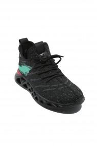 Sneakers Otter cu talpa voluminoasa negru cu verde