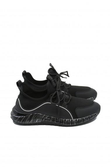 Sneakers Otter negru cu alb din material textil tricotat