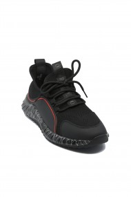 Sneakers Otter negru cu rosu din material textil tricotat