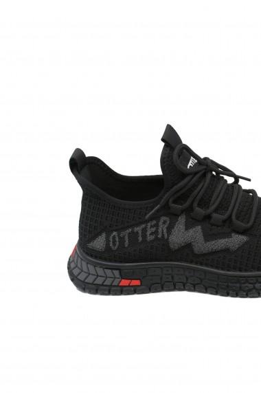 Sneakers Otter negri din material textil tricotat
