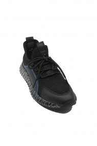 Sneakers Otter negru cu bleu din material textil tricotat