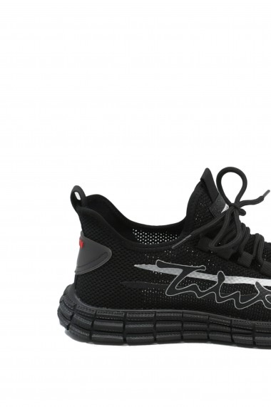 Sneakers Otter negri din material textil plasa