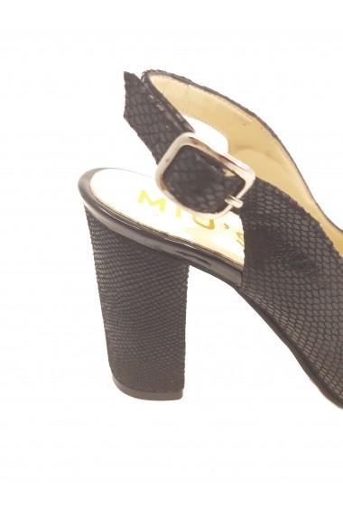 Sandale dama negre decupate din piele naturala