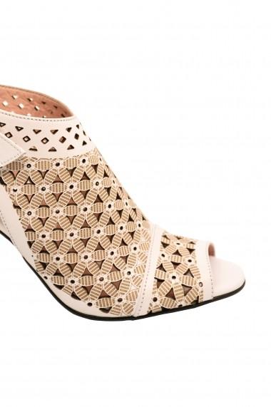 Sandale dama tip botina albe cu toc argintiu