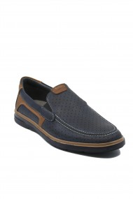Pantofi slip-on bleumarin perforati din piele naturala