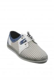 Pantofi casual alb cu bleumarin din piele naturala
