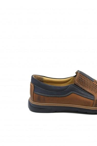 Pantofi casual perforati maro cu bleumarin dn piele naturala