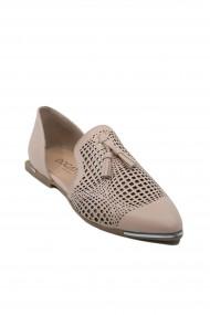 Pantofi dama roz decupati lateral din piele naturala