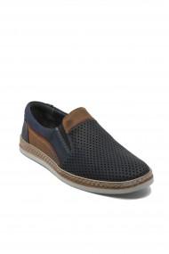Pantofi slip-on perforati bleumarin barbati din piele naturala