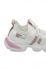 Sneakers dama albi cu detalii roz din material textil