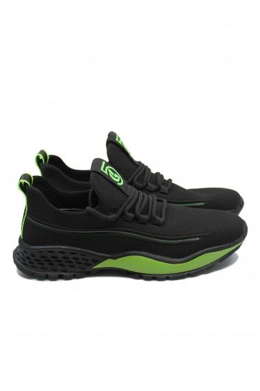 Pantofi sport Franco Gerardo Tendenza negru cu verde din material textil