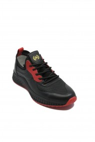 Pantofi sport Franco Gerardo negri cu rosu din piele naturala