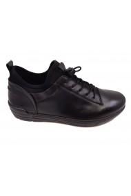 Pantofi sport stretch negri din piele naturala