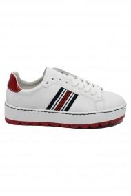 Pantofi sport dama albi  cu talpa inalta