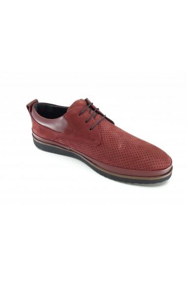 Pantofi casual barbati piele intoarsa bordo