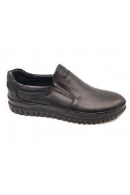 Pantofi slip-on negri din piele naturala In Tempo