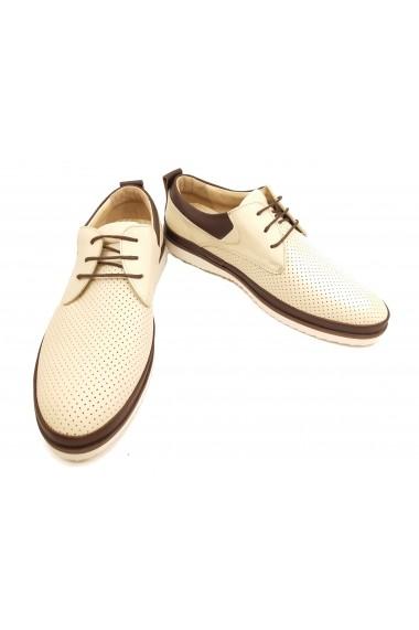 Pantofi casual barbati piele naturala crem
