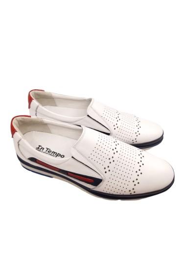 Pantofi casual albi din piele naturala In Tempo