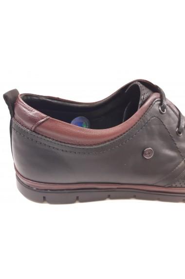 Pantofi casual barbati din piele naturala negri In Tempo
