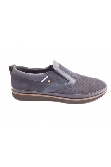 Pantofi casual barbati piele intoarsa bleumarin