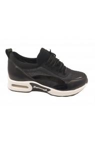 Pantofi sport dama negru sidefat cu talpa groasa antisoc