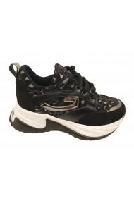 Pantofi sport dama cu talpa voluminoasa negri cu argintiu
