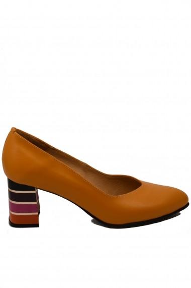 Pantofi cu toc dama office cu toc multicolor din piele naturala