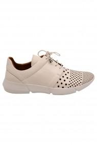 Pantofi dama sport albi din piele naturala