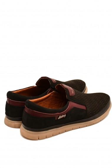 Pantofi casual negri barbati din piele intoarsa