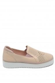 Pantofi dama casual roz sidefat din piele naturala