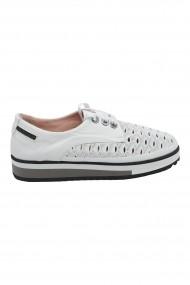 Pantofi dama casual albi cu talpa inalta
