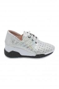 Pantofi dama casual argintii cu talpa ortopedica